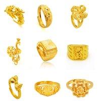 ouro amarelo gp venda por atacado-Anéis de noivado de ouro moda 24k gp banhado a ouro menswomen anel de jóias de ouro amarelo anel de dedo de ouro