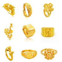 Wholesale gold rings 24k women resale online - Engagement Rings Gold Fashion K GP Gold Plated Mens Women Jewelry Ring Yellow Gold Golden Finger Ring