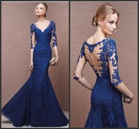 Wholesale Discount Formal Gowns Sleeves - On-Sale! Mermaid V-neck Floor Length Blue 3 4 sleeve Tulle Evening Dresses Discount Prom Gowns Formal everning Dresses LL20057