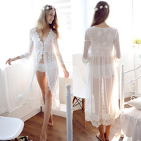 Wholesale Bridal Lingerie Free Shipping - 2017 Sexy Lace White Wedding Robe Lingerie Dreams Bridal Sleepwear Nightgown Chemise De Nuit Mariage Free Shipping