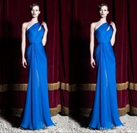 Wholesale One Shoulder Special Occasion Gown - Zuhair Murad Dresses 2016 Royal Blue Special Occasion Dresses One Shoulder Pleated Sheath Long Evening Dresses Formal Evening Gowns BO9790