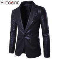 Wholesale-Spring New Men Blazer One-button Slim Fit uomo nero PU giacca in pelle a maniche lunghe moda casual Mens Suit Blazer Masculino