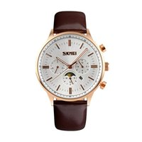 Wholesale Moon Watch Design - SKMEI Brand 2017 New Design Accurate Fashion Man Moon Phase Water Resistant Watch Men's Elegant Business Quartz Wristwatches Free Shipping