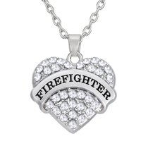 Wholesale Wholesale Firefighter - Hot selling new arrival zinc alloy material text Firefighter fashion colorful crystal heart necklaces woman jewelry