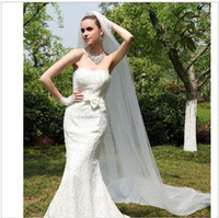 Wholesale Dress Bride Layers - Vintage White Ivory Long Tulle Wedding Dresses veils Real Garden Bride Veils One Layers New Arrival Free Shipping