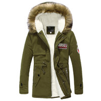 Wholesale Army Fur Collar - New Men Warm Winter Fur Collar Hooded Coat Thick Cotton Padded Clothes Coat