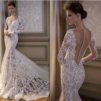 Pallas Haute Lace Bodycon Mermaid Abiti da sposa Sheer Pluging V Neck Manica lunga Illusion Back Abiti da sposa Country Style Vestido De Novia