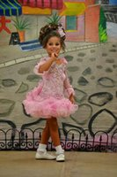 Wholesale Cute Photos Girls - Real Picture Girl's Pageant Dresses Pink Long Sleeve Crystals Organza Ball Gown Cute Little Kids Pageant Dress Flower Girls' Gowns