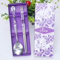 Wholesale fedex gift resale online - DHL or fedex Freeshipping sets Wedding Favors Purple Colors Purple Rose Stainless Steel Spoon and Chopsticks wedding gifts