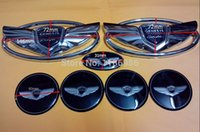 Wholesale Body Exterior - Free Shipping 7pcs set Brand New Silver Genesis Wing Badge Emblem For Hyundai Genesis Coupe car emblems Exterior Accessories 3D sticker