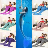 Wholesale Quilt Double - 185*155cm Double Mermaid Blanket Mermaid Tail Knitted Blankets Sofa Quilt Rug Sleeping Sack Knit blanket 6 Color have in stock WX9-141