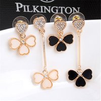 Wholesale Korea White Gold Earrings 14k - Clover earrings female Korean temperament OL ladies fashion long earrings Korea asymmetric earrings B250
