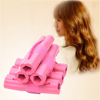 Wholesale pink sponge curlers - New Fashion 6pcs Magic Foam Sponge Hair Curler DIY Wavy Hair Travel Home Use Soft Hair Curler Rollers Styling Tools