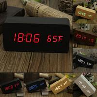Wholesale Temp Time Alarm Clock - Modern sensor Wood Clock Dual led display Bamboo Clock digital alarm clock Led Clock Show Temp Time Voice Control