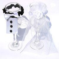braut bräutigam weinflaschen groihandel-Hochzeit Weinflasche Gläser Champagner Cup Cover Set Braut Bräutigam niedlich