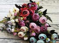 künstliche miniblumen blau großhandel-Neues Design Kamelie Bouquet mit 9 Blütenkopf Kunstblume Euro Stype 7 Farben Hochzeit Party Deko Mini Flower Bush