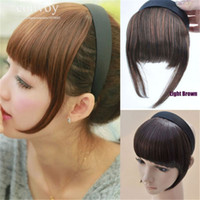 Wholesale Extra Long Black Hair - Womens Hair bangs Hair Accessories Synthetic Hairpiece Straight bang with hairband Extra Long Front Fringe Blonde Light Brown Black LH28