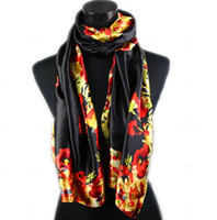 paint silk scarf - 1pcs Black Women s Fashion Satin Flower Pattern Oil Painting Long Wrap Shawl Beach Silk Scarf X50cm