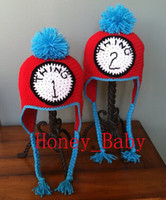 Wholesale Handmade Baby Cowboy Hat - Free Shipping Handmade Crocheted THING 1 THING 2 Twins Hat Baby Boys Girls Hat Newborn Infant Cartoon Winter Hat Children's Beanie Cotton