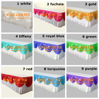 Wholesale White Table Skirting - White Color Ice Silk Table Skirt \ Table Cloth Skirting With Many Colors Swag Used For Wedding & Event Decoration