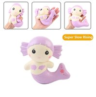 Jumbo Squishy Cute Mermaid Kawaii Squishy Slow Rising Decompression Toy Stress Relief Squeeze Toys Kids Cartoon Doll Gift