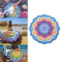 bikini-strandtücher großhandel-Quaste Indische Toalla Mandala Tapisserie Strandtuch Sunblock Runde Bikini Cover-Up Decke Lotus Böhmische Yogamatte