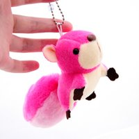 Wholesale Small Doll Gift - Wholesale-1Pcs 8cm Super Cute Lovely Animal Large tail Small Squirrel Stuffed Doll Plush Toys Key Bag Ornaments Christmas Birthday Gifts
