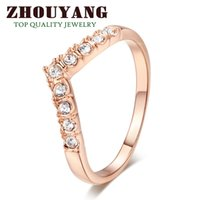 Wholesale V Ring Size - Top Quality ZYR011 V Lover Hot Sell Elegant 18K Rose Gold Plated Wedding Ring Austrian Crystals Full Sizes Wholesale