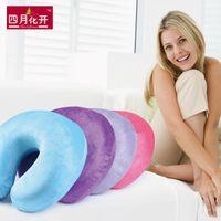bambu boyunlu yastık toptan satış-ÜCRETSIZ KARGO Yeni 2014 100% Bambu Elyaf Bellek Boyun U Yastık Seyahat Yastık Vücut Yastık