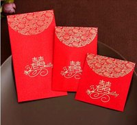 Wholesale Children Bag China - China Traditional Wedding Favor Chinese Red Packet Envelope Gift bag Stamping Happiness Give children lucky money in New year Free Shipping
