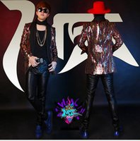 Wholesale Male singer in Europe and the nightclub runway looks south Korean version of the golden LanGongLiang costumes S xl