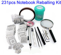 Wholesale Bga Stencil For Laptop - 231pcs Notebook Direct Heat Stencils For Laptop solder balls, flux, scraper, brush, tweezer, BGA reballing kit