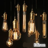 Wholesale Antique Candle Lamp - 2015 NEW Edison Chandelier Bulb Antique Bulb Aka Carbon Filament Lamp Silk Bulb Antique Light Edison Light Bulb Incandescent Bulbs X100