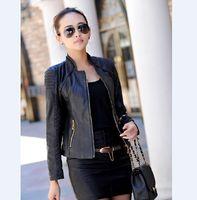 Wholesale Cheaper Women Coats - Wholesale-Brand Leather jackets women cheaper coat 2015 Luxury Women Leather coat fashion blue Jackets designer coats Free shipping HB-7C