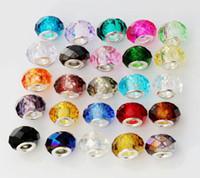 facettierte charme glasperlen großhandel-100 teile / los 25 Farben Facettierte Kristallglas Rondelle Großes Loch Perlen Fit Europäischen Charme Armband Schmuck DIY L1615 2 # -10 #