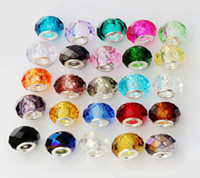 Wholesale European Bead Faceted - 100pcs lot 25Colors Faceted Crystal Glass Rondelle Big Hole Beads Fit European Charm Bracelet Jewelry DIY L1615 2#-10#