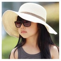 Wholesale Straw Hat Children Wide Brim - summer fashion girls sun hat 7 colors casual sun protection foldable beach girl's wide brim hat Chapeus YU0036