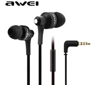 Wholesale Premium Sounds - Premium HIFI Awei Mobile Phone Earphones With Microphone In-ear Headsets Stereo Sound Noise Cancelling Headphones ES-700i