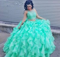 Wholesale Princess Dresses Age 12 - 2017 Mint Green Two Pieces Quinceanera Dress Princess Cascading Puffy Sweet 16 Ages Long Girls Prom Party Pageant Gown Plus Size Custom Made