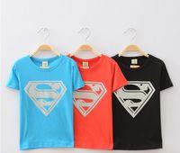 Wholesale Boys Short Sleeve Superman Top - Wholesale-Children summer leisure clothing boy baby superman short sleeve t shirt kids tops tees 5pcs lot