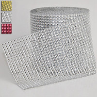 Wholesale Diamond Mesh Roll Rhinestone - High Quality Festival Party Wedding Diamond Mesh Wrap Roll Sparkle Rhinestone Ribbon Roll Crystal Rhinestone Ribbon JM0054