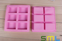 Wholesale Silicone Soap Molds Rectangular - wholesale 6 lattice rectangular pastry molds 100ml silicone cake bakeware mold soap moulds #GP75 0915#15