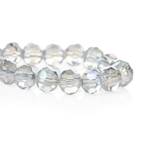 Wholesale Crystal Glass Faceted 6mm - Crystal Glass Loose Beads Round Transparent AB Color Faceted About 6mm Dia,Hole about 1.0mm,51.6cm,1 Strand 2015 new
