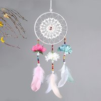 Wholesale Leather Flowers Craft - 2018 Wedding Decoration Handmade Dream Catcher Net With Feathers Flower Wind Chimes Dreamcatcher Hanging Craft Party Gift