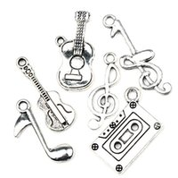 Wholesale Pendant Guitar - Antiqued Silver Note Music Theme Treble Clef Eighth Guitar Charms Pendants 140pcs lot Jewelry DIY Hot sell