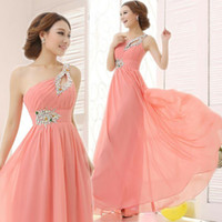 Wholesale Colorful Pleat Evening Dresses - A Line Chiffon Bridesmaid Dresses 2015 Long Summer One Shoulder Wedding Party W5042 Crystal Formal Evening Gowns Colorful Shiny Cheap Modern