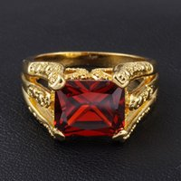Wholesale Red Solitaire Garnet Ring - Men's Vintage Red Garnet Gemstone 18K Yellow Gold Filled Gem Claw Ring for Men Nice Gift