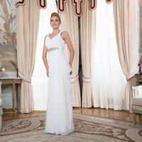 Wholesale Elegant Wedding Dresses Sashes - Cheap A-Line V Neck Pleat Chiffon with Crystal Sashes Floor-Length Long Elegant Bridal Wedding Dresses Sleeveless