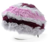 Wholesale Pink Hair Berets - Wholesale-Woman Rabbit Hair Winter Hats Fashionable Warm Berets Cony Hair Pop Colors Fancy Fur Berets Woman Winter Thick Casual Hats