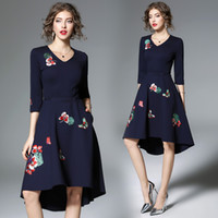 Wholesale Western Style Ladies Dresses - New 2018 Western Style Halter Party club Bodycon dress Embroidery V-Neck Ladies Flora Printed Vintage Hi-Lo Dresses Dark Blue Free Shipping